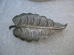 "Vintage .800 Silver Leaf Brooch, Filigree, 4.79 grams 2.25"", 1940's-1950's"