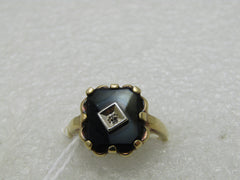 Vintage 10kt Black Onyx Art Deco Themed Ring, Sz. 7.5