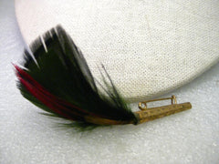 Vintage Multi-Feather German/Bavarian Hunter's Hat Brooch/Brush, Gold tone textured cap, 3""