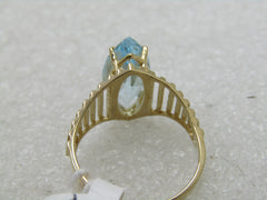 Vintage 10kt Blue Sapphire Marquise Ring, Statement, Yellow Gold