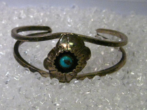 "Sterling Silver Southwestern Shadow Box Turquoise Cuff Bracelet,  signed MMM, 6"", 26.03 gr."