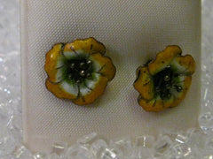 Vintage Silver Guilloche Yellow/White Hibiscus Floral Pierced Earrings, Mid-Century