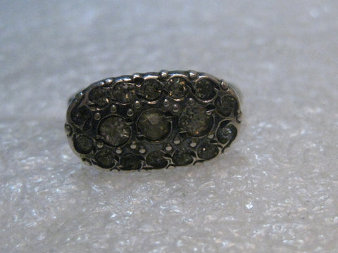 Sterling Silver Art Deco Rhinestone Ring, Size 1920'-1930's, 2.69 gr.