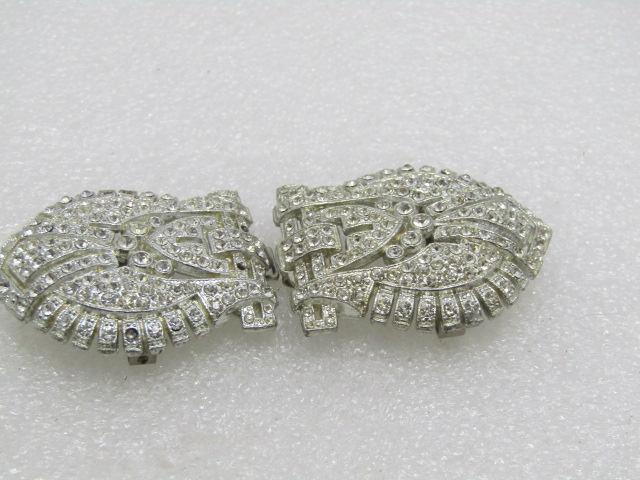 Art Deco Rhinestone Buckle Set, Silver Tone, 1930's-1940's, 2Pcs.  3.5""