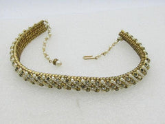 "Vintage Faux Pearl Rhinestone Choker Necklace, 17"", 1940's-1950's, Weddings/Proms/Special occasions"