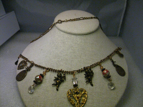 "Brassy Gold Tone Charm Necklace, 22"", hearts, angels, rose beads, moon & more, 1990's"