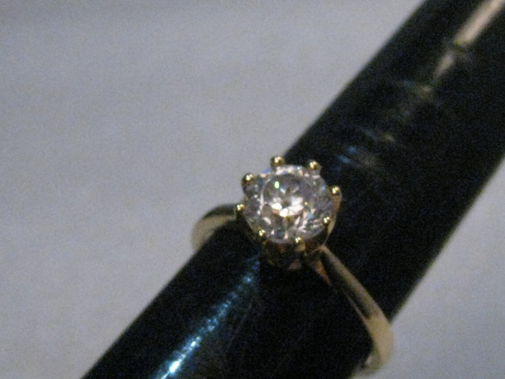 14kt Diamonique CZ Engagement Ring, sz. 5, 2.24 grams, appx. 1.25ctw