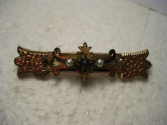 True Vintage Victorian Gold Plated Bar Brooch, Center Red Stone, 2 Pearls, 2.25""