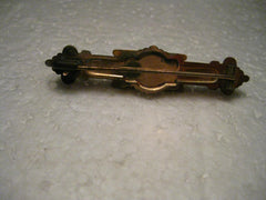 True Vintage Victorian Gold Plated Bar Brooch, Ornate with faux pearl and rubies