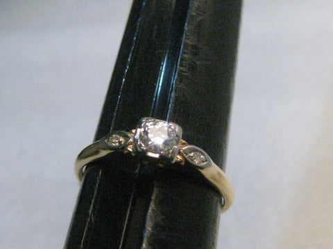 Vintage 14kt Diamond Engagement Ring, .25ctw+,  sz, 7.75, 1.57gr, 1930's-1940's, Two-Tone Gold