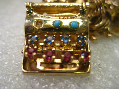 Vintage 14kt Solid Gold Mechanical Typewriter Charm or Pendant with Gemstones, I Love You , 7.49 gr., 1""