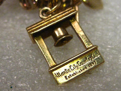 Vintage 14kt Solid Gold Atlantic City Country Club Rare  Bell Charm or Pendant, 5.12 gr, 3/4""
