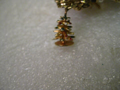 "Vintage 14kt Solid Gold Christmas Tree, 3-D, enamel tipped, Charm or Pendant, 1.50 gr. 3/4"" tall, signed J"