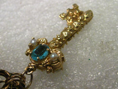 "Vintage 14kt Solid Gold Victorian Key Charm or Pendant, Pearls & Gemstones, 5.09 gr., 1.14"", Ornate"