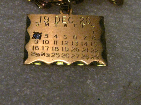 Vintage 14kt Solid Gold December 2, 1928 Birthday Calendar Charm or Pendant with Zircon, signed, 1.89 gr.  3/4""