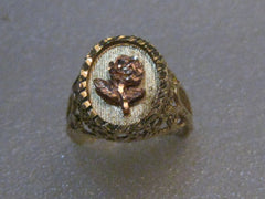 Vintage 14kt Rose/Yellow Gold Floral Ring, Filigree & Diamond Cut, sz. 7, 4.04 grams