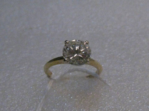 14kt Solid Gold Cubic Zirconia Engagement Ring, size 5, 1.71ctw, 1980's