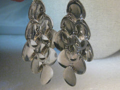 "Silver Tone Dangle Pierced Earrings, Hippie, Boho, Romani Gypsy 3.5"" Long"