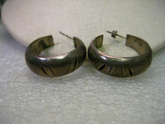 "Sterling Silver Southwestern Large Hoop Pierced Earrings, signed Mexico, 1-1/.8"" Long, 14.37 grams"