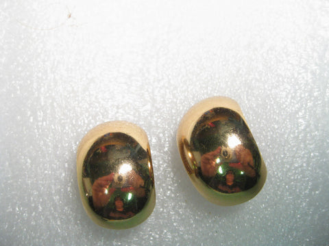 Vintage 1980's Wide Half Hoop Goldtone Clip Earrings