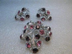 Sarah Coventry Rhinestone Brooch Earrings Set, Pink & Purple, 1960's, Silver Tone