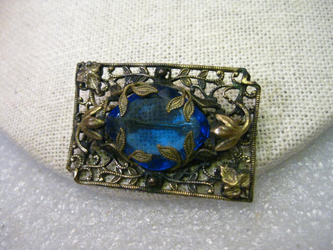 True Vintage Victorian Floral Filigree Brooch, Blue Stone