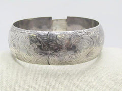 "Vintage Sterling Hinged Bangle Bracelet, Wide, Safety Chain, 7"" 38.45grams, Mid-Century"