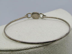 "Sterling Quartz Bangle Bracelet, Top Hook Clasp, Banded White Quartz, 7"", 4.77gr"