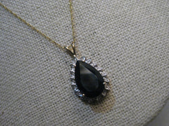 "14kt 5.75CTW Black Spinel Diamond Necklace, 18"", 3.81 grams, signed JED, Two-Tone Gold"