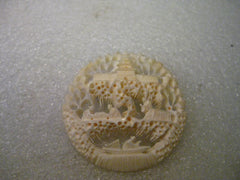 Vintage Carved Faux Ivory/Bone Three Tiered Scene Brooch, Pagoda, Village/River, 2""
