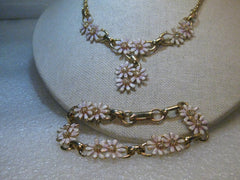 "Enameled Daisy Choker & Bracelet Set, 1960's Vintage, 15"" and  7.5"", Rhinestone Accents"