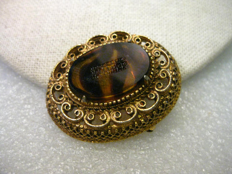 Vintage Amber Brown Glass Brooch, signed Florenza, Mid-Century, Cameo Style