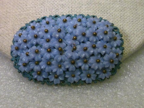Vintage Forget-Me-Not Oval Layered Brooch, 1930s, 1940's, Celluloid/Plastic Petals, 2.25""
