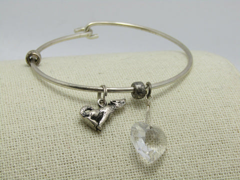 "Sterling Silver Wolf & Heart Bangle Charm Bracelet, Hook Clasp, 6.75"", 2mm"