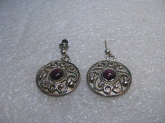 "Sterling Silver Scrolled Pierced Earrings, Round Amethyst Stone, 7/8"", 7.40 Grams, 1970's-1980's"