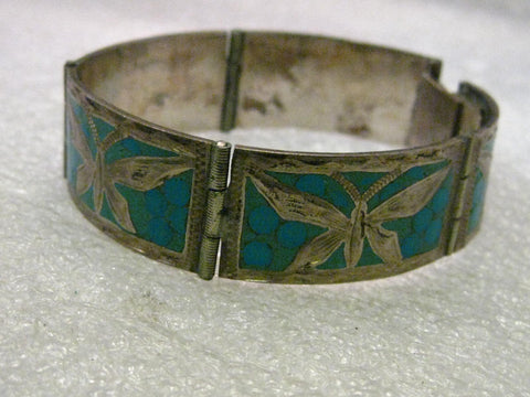 "Vintage Sterling Silver Hand Made Inlaid Turquoise Butterfly Hinged Link Bracelet, Mexico, 7"", 2/3"" wide, 1970's"