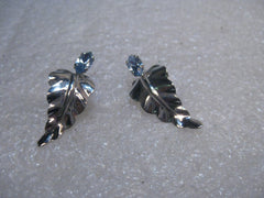 "Sterling Silver Van Dell Leaf Earrings, Blue Stones, Screw Back, 3.74 gr., 1"", 1960's"