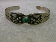 Vintage Sterling Silver Turquoise Native American/Southwestern Stamped Cuff Bracelet,  6""