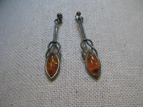 "Sterling Amber Celtic Knot Earrings, Pierced Stud and Dangle, 1-5/8"", 1970's"