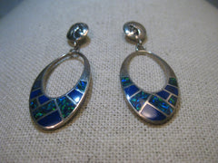 Southwestern Kokopelli Inlaid Sterling Pierced Earrings, Teme (Kay Johnson), 8.60 gr., 2-1/8""