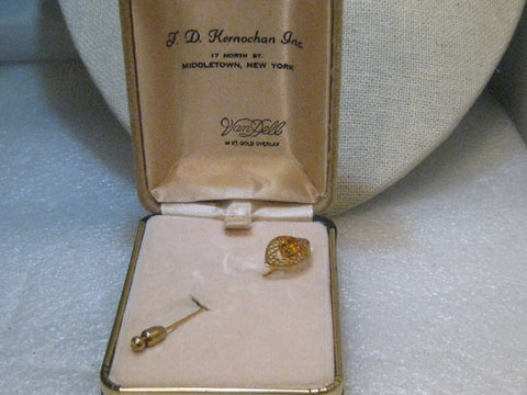 Vintage 14kt Overlay Stick Pin, Yellow Stone, Filigree, In Van Dell Box, 1960's, 2.5""