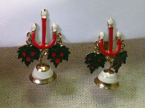 Vintage Christmas Stud and Dangle Clip Chandelier Earrings, Enameled Candles, Greens & Bells