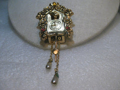 Coro Pegasus Cuckoo Clock Fur Clip, Rhinestones, Moving Parts, 1940's, 4""