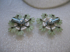 Vintage 1940's Plastic Floral Clip Earrings, White/Green, 1.75""