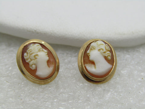 Vintage 10kt Gold Cameo Pierced Earrings, 12mm X 10mm, Signed