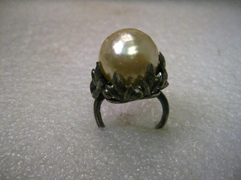 Vintage 15mm Faux Baroque Pearl in Gothic to Victorian Rustic Floral Pewter-like setting, size 8.5