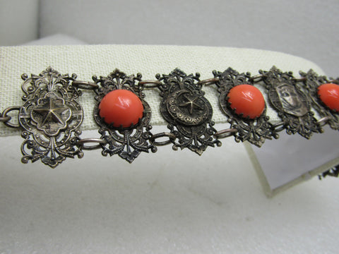 "Vintage Hand of  Fatima/Hamsha Bracelet, Orange Stones, Crescent, Stars & More, 7""-8.25"""