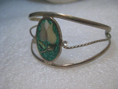 Inlaid Turquoise MOP Cuff Bracelet,  Tulip, Abalone, Alpaca, Mexico, 7""