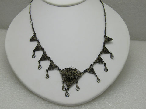 Vintage Early 1900's Sterling Silver Filigree Necklace with Drops, Art Nouveau, 18""