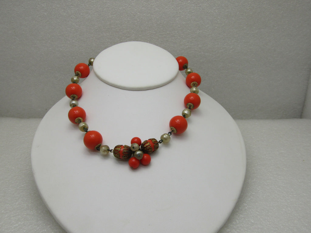 "Vintage Faux Pearl & Orange Beaded Necklace, 15"", 1940's-1950's, Filigree Accents"